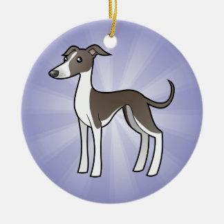Cartoon Greyhound / Whippet / Italian Greyhound Round Ceramic Decoration