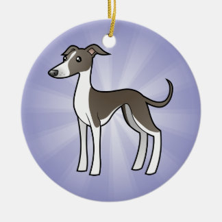 Cartoon Greyhound / Whippet / Italian Greyhound Round Ceramic Decoration