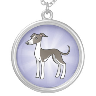Cartoon Greyhound / Whippet / Italian Greyhound Silver Plated Necklace