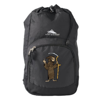 cartoon grim reaper. backpack
