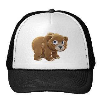 Cartoon Grizzly Bear Animal Character Cap