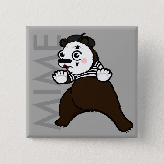 CARTOON GRIZZLY BEAR MIME SQUARE BUTTON