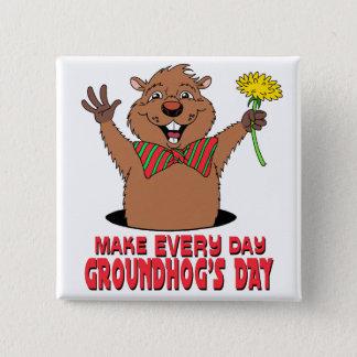 Cartoon Groundhog 15 Cm Square Badge