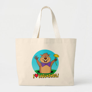 Cartoon Groundhog Large Tote Bag
