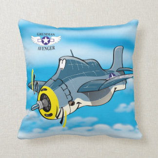 Cartoon Grumman Avenger plane Cushion