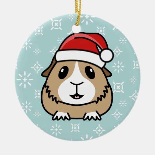 Cartoon Guinea Pig Christmas Round Ornament