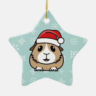 Cartoon Guinea Pig Christmas Star Ornament