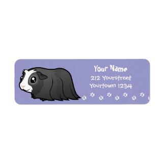 Cartoon Guinea Pig (long hair) Return Address Label