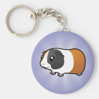 Cartoon Guinea Pig (smooth hair) Basic Round Button Key Ring