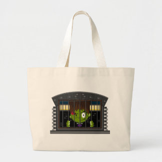 Cartoon Halloween Frankensteins Monster Large Tote Bag