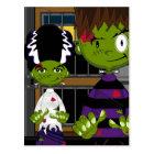Cartoon Halloween Frankensteins Monster Postcard