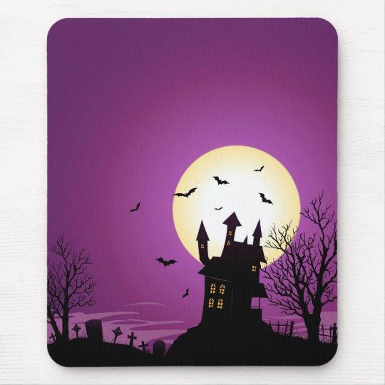 Cartoon Halloween Haunted Castle Mouse Mat