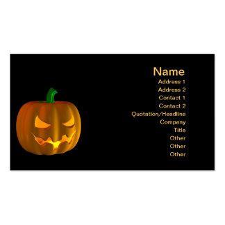 Cartoon Halloween pumpkin on black Pack Of Standard Business Cards