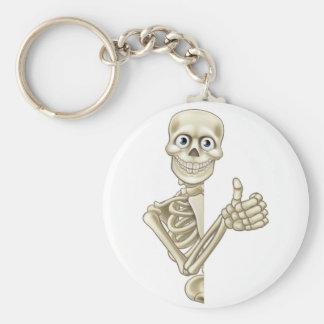 Cartoon Halloween Skeleton Thumbs Up Basic Round Button Key Ring