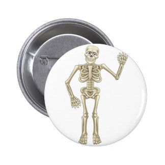 Cartoon Halloween Skeleton Waving 6 Cm Round Badge