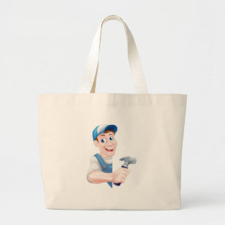 Cartoon Hammer Carpenter Large Tote Bag