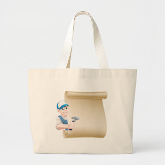 Cartoon Hammer Carpenter Sign Large Tote Bag