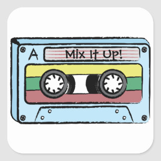 Cartoon Hand Drawn Cassette Tape (Mix It Up) Square Sticker