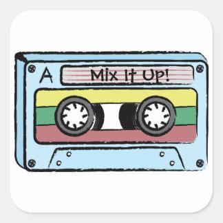 Cartoon Hand Drawn Cassette Tape (Mix It Up) Square Sticker