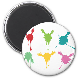 Cartoon Hands with Gestures 2 6 Cm Round Magnet