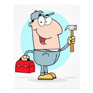 cartoon handyman construction worker character 21.5 cm x 28 cm flyer