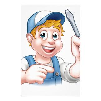 Cartoon Handyman Electrician Holding Screwdriver Custom Stationery