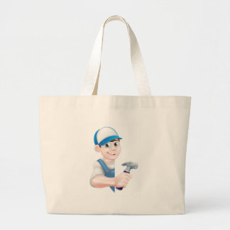 Cartoon Handyman Large Tote Bag