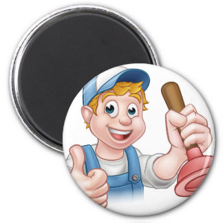 Cartoon Handyman Plumber Holding Plunger 6 Cm Round Magnet