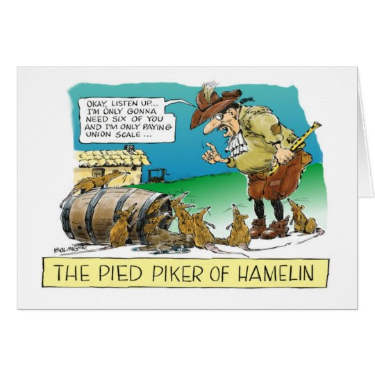 Cartoon happy Boss's Day Pied Piper Card