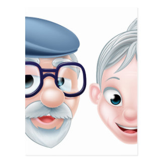 Cartoon Happy Elderly Husband and Wife Postcard
