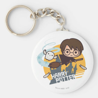 Cartoon Harry and Hedwig Flying Past Hogwarts Basic Round Button Key Ring
