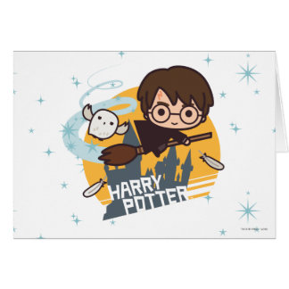 Cartoon Harry and Hedwig Flying Past Hogwarts Card
