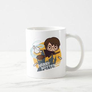Cartoon Harry and Hedwig Flying Past Hogwarts Coffee Mug