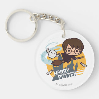 Cartoon Harry and Hedwig Flying Past Hogwarts Double-Sided Round Acrylic Key Ring