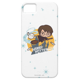 Cartoon Harry and Hedwig Flying Past Hogwarts iPhone 5 Case