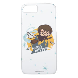 Cartoon Harry and Hedwig Flying Past Hogwarts iPhone 8/7 Case
