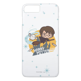 Cartoon Harry and Hedwig Flying Past Hogwarts iPhone 8 Plus/7 Plus Case