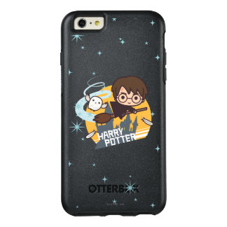Cartoon Harry and Hedwig Flying Past Hogwarts OtterBox iPhone 6/6s Plus Case