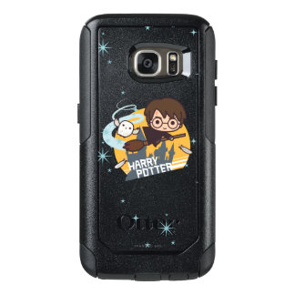 Cartoon Harry and Hedwig Flying Past Hogwarts OtterBox Samsung Galaxy S7 Case