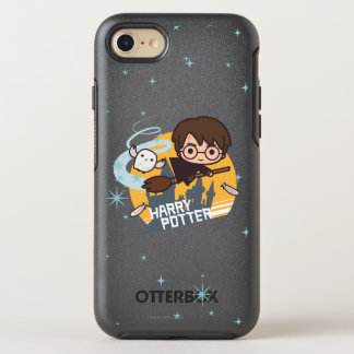 Cartoon Harry and Hedwig Flying Past Hogwarts OtterBox Symmetry iPhone 8/7 Case