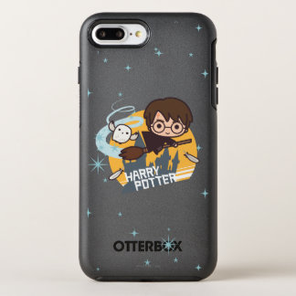 Cartoon Harry and Hedwig Flying Past Hogwarts OtterBox Symmetry iPhone 8 Plus/7 Plus Case