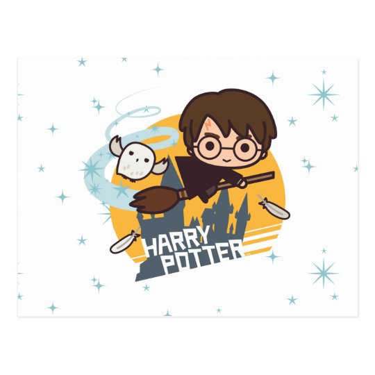 Cartoon Harry and Hedwig Flying Past Hogwarts Postcard