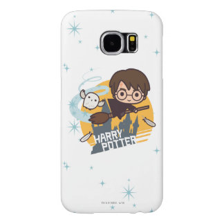 Cartoon Harry and Hedwig Flying Past Hogwarts Samsung Galaxy S6 Cases