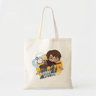 Cartoon Harry and Hedwig Flying Past Hogwarts Tote Bag