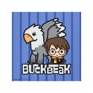 Cartoon Harry Potter and Buckbeak Canvas Print