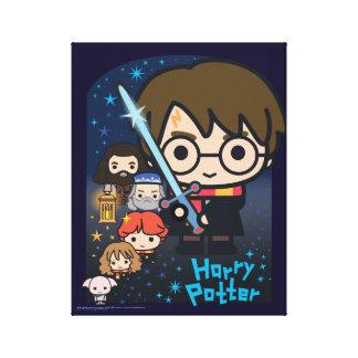 Cartoon Harry Potter Chamber of Secrets Graphic Canvas Print