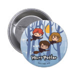 Cartoon Harry, Ron, & Hermione Flying In Woods 6 Cm Round Badge