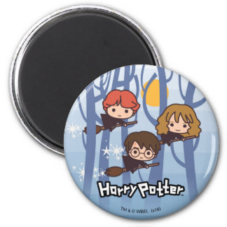 Cartoon Harry, Ron, & Hermione Flying In Woods 6 Cm Round Magnet