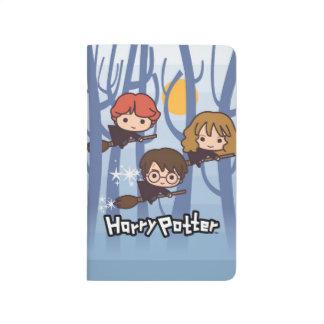 Cartoon Harry, Ron, & Hermione Flying In Woods Journals