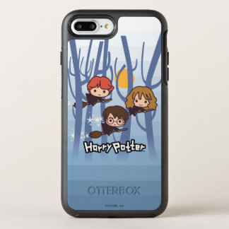Cartoon Harry, Ron, & Hermione Flying In Woods OtterBox Symmetry iPhone 8 Plus/7 Plus Case